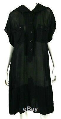 YVES SAINT LAURENT Black Sheer Crepe Short Sleeve Hooded Shirt Dress XL